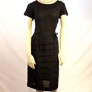 Vintage 1950s Sheer Waterfall Ruffle Dress Sz: S